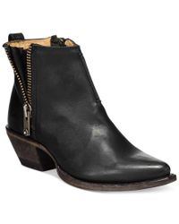 Frye | Black Sacha Side Zip Moto Booties | Lyst