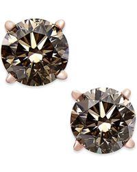 Macy's - Metallic Brown Diamond Stud Earrings (1 Ct. T.w.) In 14k Rose Gold - Lyst
