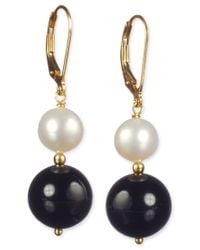 Macy's - Black Onyx (20 Ct. T.w.) And Cultured Freshwater Pearl (12mm) Leverback Earrings In 14k Gold Over Sterling Silver - Lyst