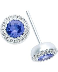 Macy's - Blue Tanzanite (1/2 Ct. T.w.) And Diamond Accent Stud Earrings In 14k White Gold - Lyst