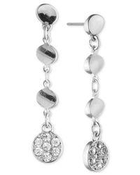 Anne Klein | Metallic Silver-tone Crystal Linear Disc Earrings | Lyst