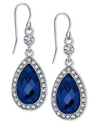2028 | Silver-tone Blue Crystal And Pave Drop Earrings, A Macy's Exclusive Style | Lyst