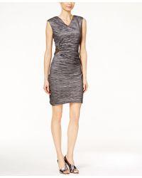 Calvin Klein | Gray Textured Side-broach Sheath Dress | Lyst