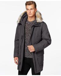 Calvin Klein | Gray Faux-fur Hooded Jacket for Men | Lyst