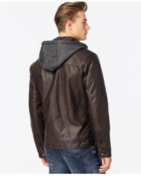 INC International Concepts - Brown Hooded Jacket for Men - Lyst
