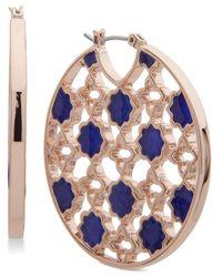 Ivanka Trump - Blue Rose Gold-tone Stone Openwork Hoop Earrings - Lyst