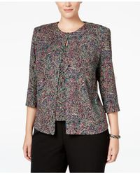 Alex Evenings | Gray Plus Size Printed Glitter Jacket & Shell Set | Lyst
