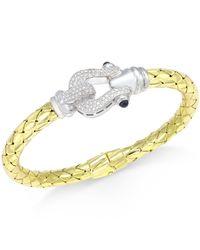 Macy's   Metallic Diamond Horseshoe Bangle Bracelet (1/2 Ct. T.w.) In 14k Gold-plated Sterling Silver   Lyst