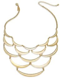 INC International Concepts | Metallic Pave Scalloped Bib Necklace | Lyst