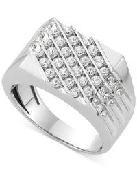 Macy's - Metallic Men's Diamond Diagonal Ring (1 Ct. T.w.) In 10k White Gold for Men - Lyst