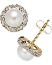 Macy's - Metallic Cultured Freshwater Pearl (6mm) And Diamond Accent Earrings In 14k Gold - Lyst