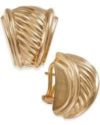 Macy's   Metallic Ribbed Earrings In 14k Gold   Lyst