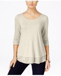 Style & Co. | Natural Chiffon-hem Top, Only At Macy's | Lyst