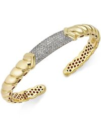 Macy's - Metallic Diamond Pave Bangle Bracelet (7/8 Ct. T.w.) In 14k Gold Over Sterling Silver - Lyst