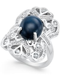 Macy's | Metallic Star Sapphire (5 Ct. T.w.) And Cubic Zirconia Ring In Sterling Silver | Lyst