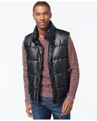 Sean John | Black Quilted Puffer Vest for Men | Lyst