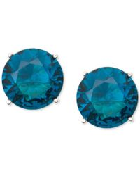 Anne Klein | Gold-tone Blue Round Stone Stud Earrings | Lyst