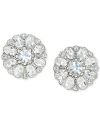 Carolee | Metallic Silver-tone Crystal Button Clip-on Earrings | Lyst