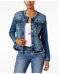 INC International Concepts   Blue Petite Frayed Denim Jacket   Lyst