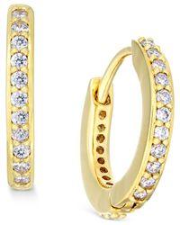 Danori | Metallic Gold-tone Crystal Pave Huggy Hoop Earrings, Only At Macy's | Lyst