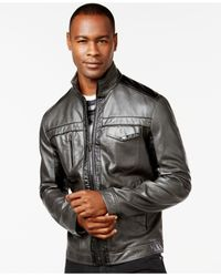 INC International Concepts   Brown Men's Jones Two-tone Faux-leather Jacket, Only At Macy's for Men   Lyst