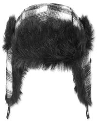Sean John | Black Men's Plaid Faux-fur-lined Trapper Hat for Men | Lyst