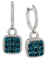 Le Vian | Blue And White Diamond Drop Earrings (1-1/4 Ct. T.w.) In 14k White Gold | Lyst