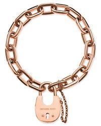 Michael Kors - Metallic Chain Link Padlock Bracelet - Lyst