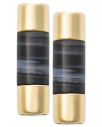 Michael Kors | Metallic Gold-tone Opaque Stone Bar Stud Earrings | Lyst