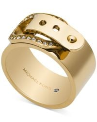 Michael Kors | Metallic Crystal Buckle Ring | Lyst
