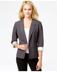 Kensie   Gray Long-sleeve Faux-pocket Blazer   Lyst