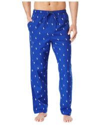 Polo Ralph Lauren | Blue Drawstring Pony-print Flannel Pajama Pants for Men | Lyst