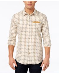 Sean John | Natural Men's Ladder Dobby Check Shirt for Men | Lyst