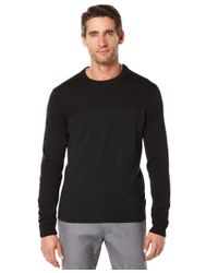 Perry Ellis | Black Colorblocked Heathered Sweater for Men | Lyst