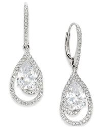 Danori | Metallic Silver-tone Crystal Teardrop And Pave Drop Earrings | Lyst