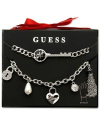 Guess | Metallic Silver-tone Crystal And Enamel Charm Bracelet Set | Lyst