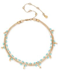 Kenneth Cole - Metallic Gold-tone Blue Bead Triple-chain Choker Necklace - Lyst