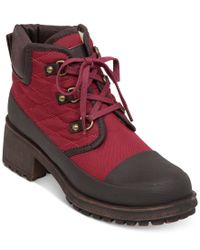 Lucky Brand | Red Women's Akonn Short Lace-up Faux-fur Hiker Booties | Lyst