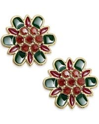 kate spade new york - Green Gold-plated Floral Stud Earrings - Lyst