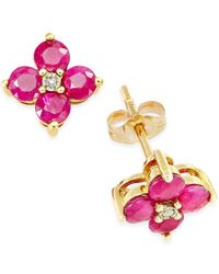 Macy's - Metallic Ruby (1-1/3 Ct. T.w.) And Diamond Accent Flower Earrings In 10k Gold - Lyst