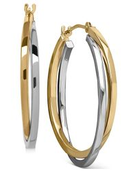Macy's - Metallic Two-tone Intertwined Hoop Earrings In 14k Gold And 14k White Gold - Lyst
