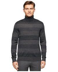 Calvin Klein | Gray Men's Stripe Turtleneck Sweater for Men | Lyst