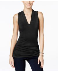 INC International Concepts | Black Sleeveless V-neck Top, Only At Macy's | Lyst