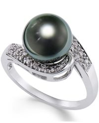 Macy's - Multicolor Cultured Tahitian Black Pearl (9mm) And Diamond (1/10ct. T.w.) Swirl Ring In 14k White Gold - Lyst