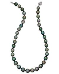 Macy's | Cultured Tahitian Black Pearl (10-12mm) Strand Necklace In 14k White Gold | Lyst