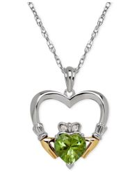 Macy's | Metallic Peridot (1-1/3 Ct. T.w.) And Diamond Accent Heart Pendant Necklace In Sterling Silver And 14k Gold | Lyst