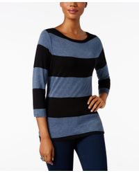 INC International Concepts | Black Striped Boat-neck Top, Only At Macy's | Lyst