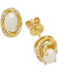 Macy's - White Opal (1/2 Ct. T.w.) And Diamond Accent Earrings In 14k Gold Over Sterling Silver - Lyst