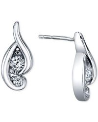 Proud Mom | Diamond Swirl Earrings (1/4 Ct. T.w.) In 14k White Gold | Lyst