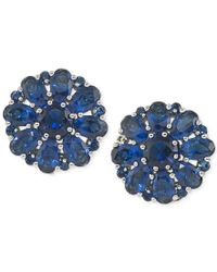 Carolee | Silver-tone Blue Crystal Cluster Clip-on Earrings | Lyst